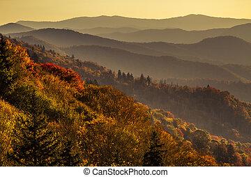 herfst, bergen, groot, rokerig, nationaal park