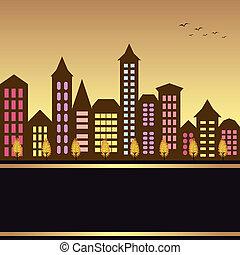 herfst, cityscape, illustratie