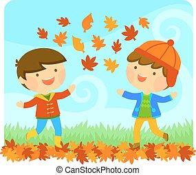 herfst, het genieten van, geitjes