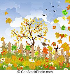 herfst landschap, omheining
