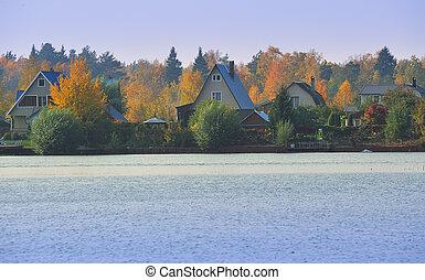 herfst, meer, dorp
