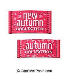 herfst, nieuw, etiketten, verzameling