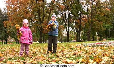herfst, park, kinderen