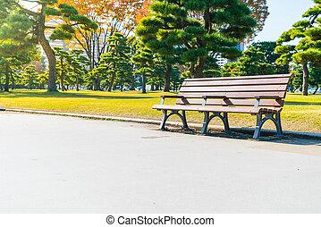 herfst, parkeer bank
