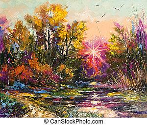herfst, schilderij, olie, -, afslaan