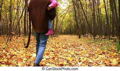 herfst, vader, meisje, park, dancing