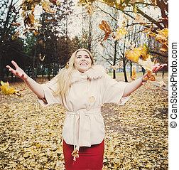 herfst, verticaal, vrouw, park, jonge