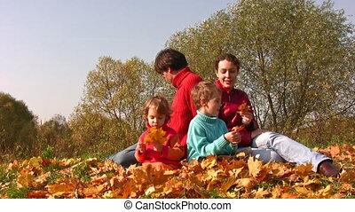 herfst, vier, bladeren, gezin, zetten