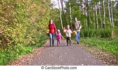 herfst, vier, rennende , park, gezin