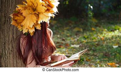 herfst, vrouw, park, boek, lezende