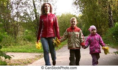 herfst, wandelende, park, kinderen, moeder