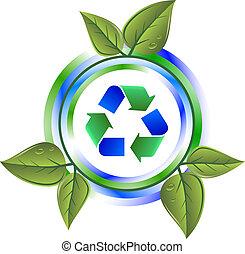hergebruiken, bladeren, groene, pictogram