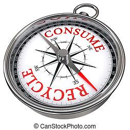 hergebruiken, tegen, concept, verbruiken, kompas
