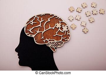 hersenen, raadsel, hoofd, man