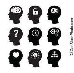 hersenen, voer stel aan, vecotr, iconen