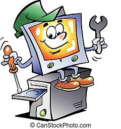herstelling, computer, mascotte