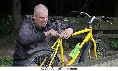 herstelling, park, fiets, man