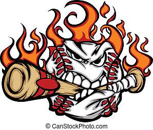 het bijten, vleermuis, honkbal, gezicht, het vlammen