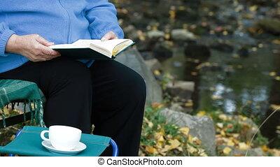 het boek van de lezing, kop, koffie