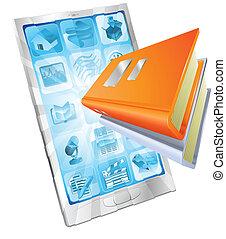 het boek van de telefoon, app, concept