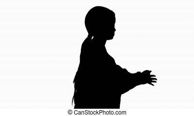 het dansen., mooi, hebben, het glimlachen, silhouette, zwarte vrouw, plezier