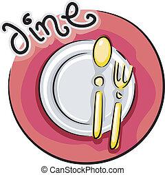 het dineren, pictogram