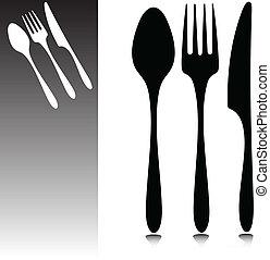 het dineren, vector, accessoires
