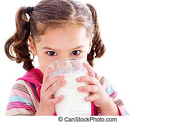 het drinken melk, kind