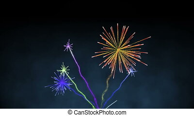 het exploderen, kleurrijke, vuurwerk