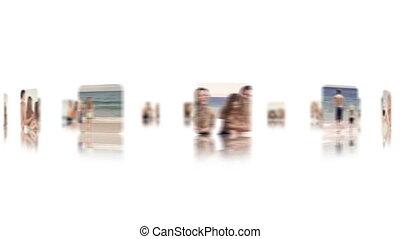 het genieten van, vakantie, gezin, strand