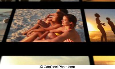 het genieten van, vrienden, vrouwlijk, strand