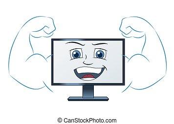 het glimlachen, computer, machtig