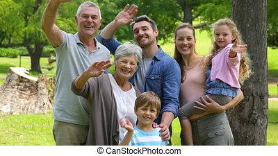 het glimlachen, fototoestel, generatie, gezin