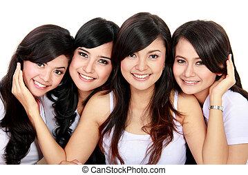 het glimlachen, groep, tieners