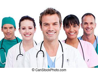 het glimlachen, medisch team, verticaal