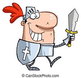 het glimlachen, ridder, zwaard