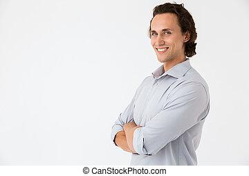 het glimlachen, verheugd, kantoor, fototoestel, beeld, zakenman, hemd