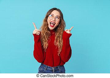 het glimlachen, wijzende, beeld, omhoog, kaukasisch, vingers, vrouw, gekke