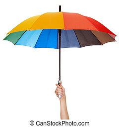 het houden paraplu, veelkleurig, vrijstaand