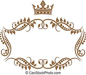 het kader van de kroon, koninklijk, middeleeuws, elegant