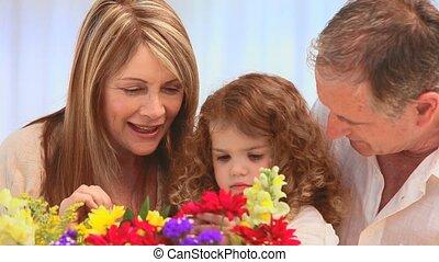 het kijken, bos, gezin, bloemen