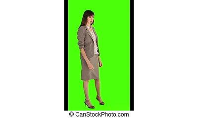 het kijken, brunette, fototoestel, businesswoman