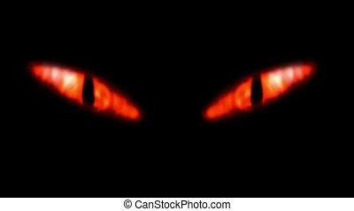 het kijken, eyes., animatie, vurig, kwaad