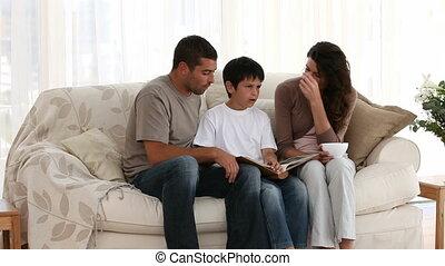 het kijken, familie foto, album