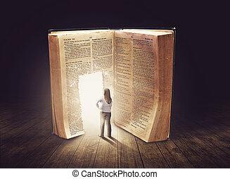 het kijken, groot, vrouw, boek
