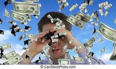 het kijken, het vallen, zakenman, dollars