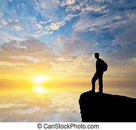 het kijken, sunset., toerist, man