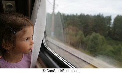 het kijken, trein, meisje, door het venster, weinig; niet zo(veel)