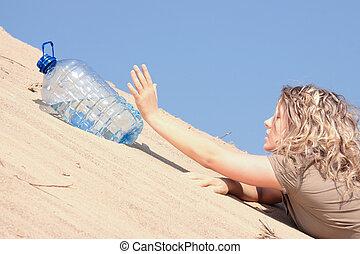 het kijken, water, meisje, dorstig