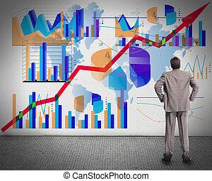 het kijken, zakenman, graphs.